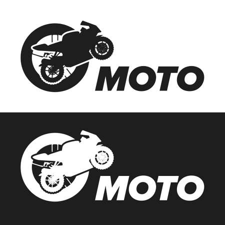 vector tyre: Motorcycle inside tyre vector icon on white