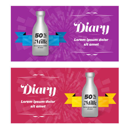 diary: Diary banner design with milk plastic bottle