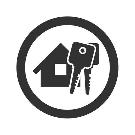 open car door: Black home with key icon on a white background