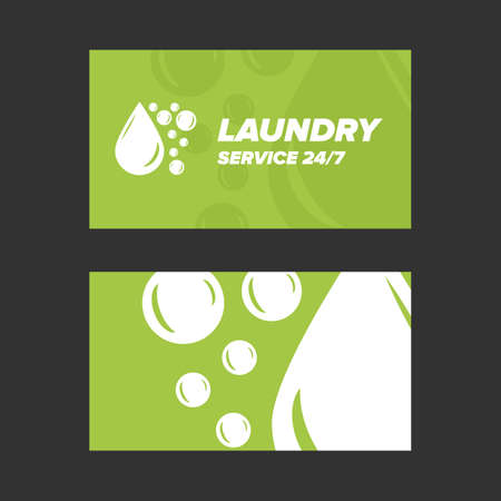 sides: Green Laundry Service Business card two sides template