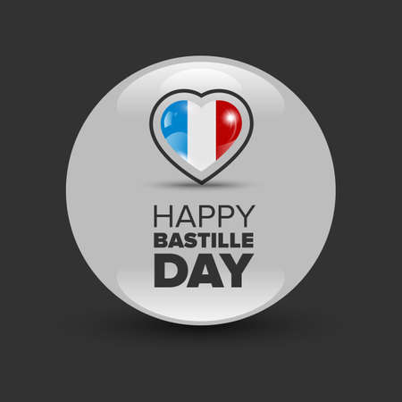 bastille: 14th July Bastille Day of France. Happy Bastille day card. Celebration background with heart and text Illustration