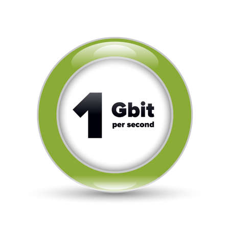 Gigabit shiny bubble sign with shadow on white background