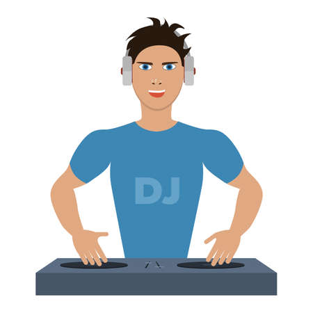 mixing console: Smiling DJ with console on a white background Illustration