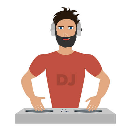 Smiling DJ with console on a white background Illustration