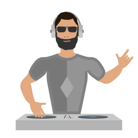 discotheque: Smiling DJ with console on a white background Illustration