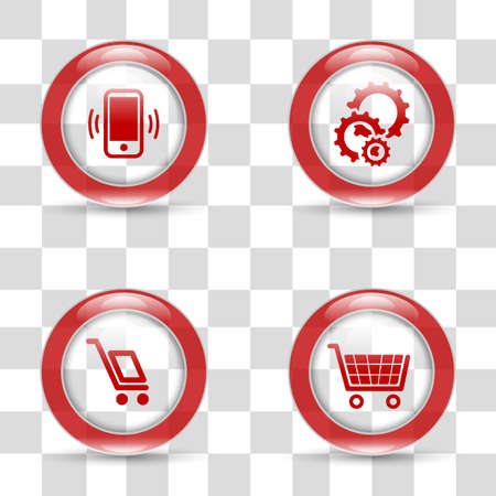 preferences: Shiny vector icons set with transparent background