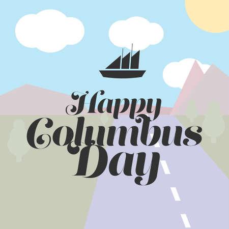 colombo: Stylish text Columbus Day vector illustrations design