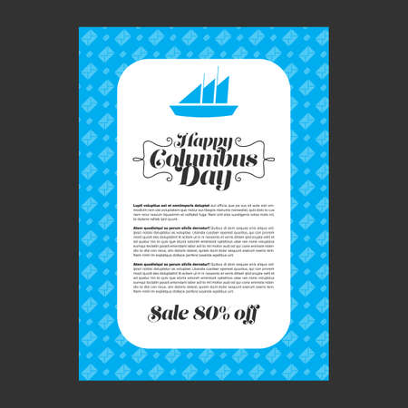 colombo: Happy Columbus Day banner vector illustrations design
