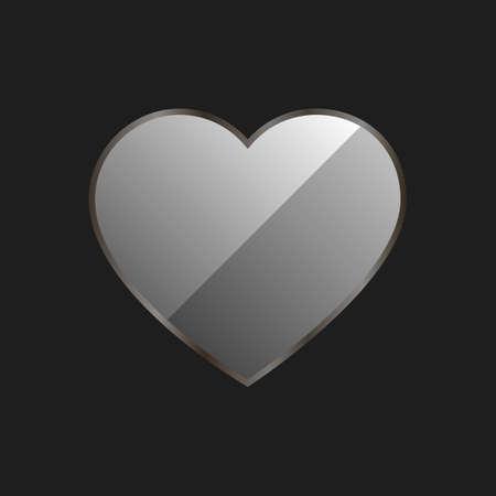 shiny black: Shiny Metellic heart on a black background Illustration