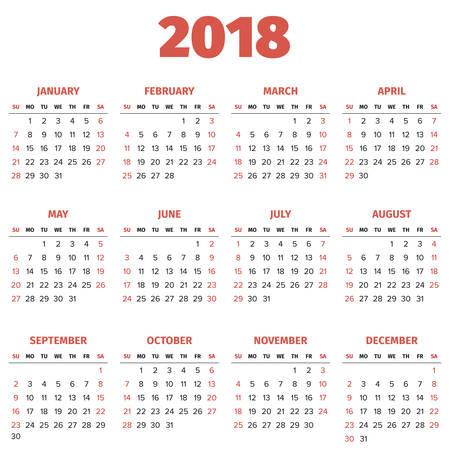 Simple 2018 year calendar, week starts on Sunday