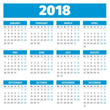 Simple 2018 calendrier de l'année, la semaine commence le lundi