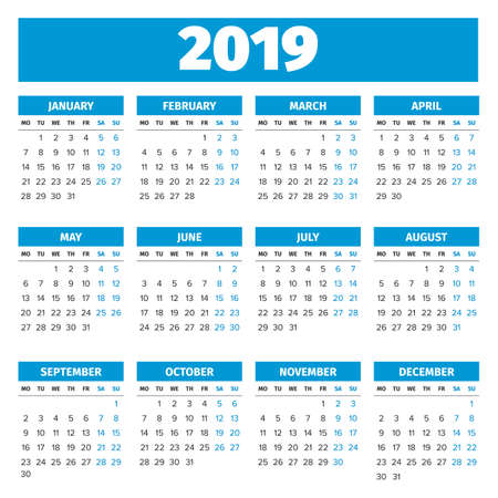 Simple 2019 year calendar, week starts on Monday