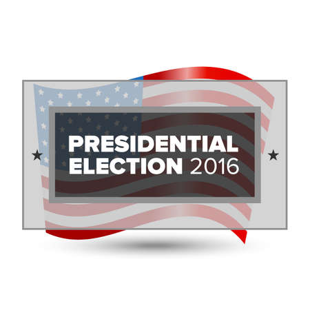 resignation: 2016 USA presidential election poster with american flag Illustration
