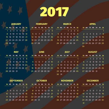 darken: Calendar 2017 with darken USA flag Illustration