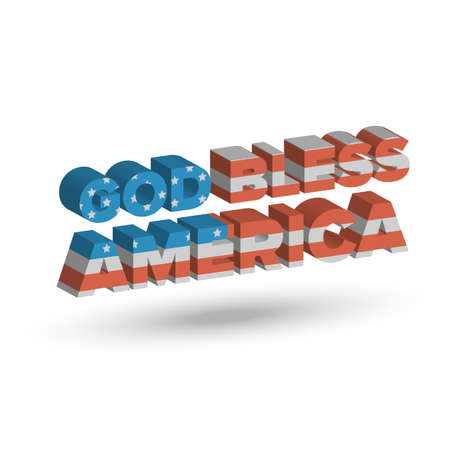 God Bless America three dimensional sign with shadow Illustration