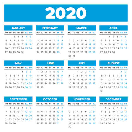 Simple 2020 year calendar, week starts on Monday Illusztráció
