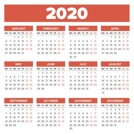 Calendario Fotografico 2020.Semplice Calendario Per Il 2020 Settimana Inizia Lunedi
