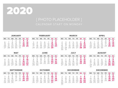 Calendar 2020 Year Vector Design Template Start On Monday Royalty