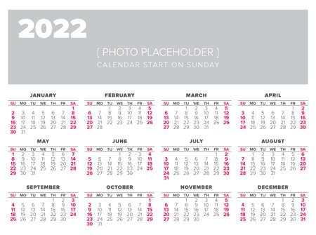 Gabarit Calendrier 2022 Modèle De Conception De Vecteur Calendrier 2022 Année, Commencer