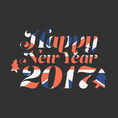 Happy New Year 2017 with UK flag background