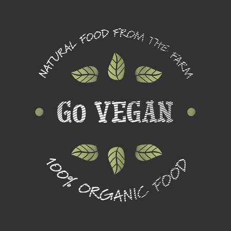 leafs: Engraved Go Vegan icon with leafs