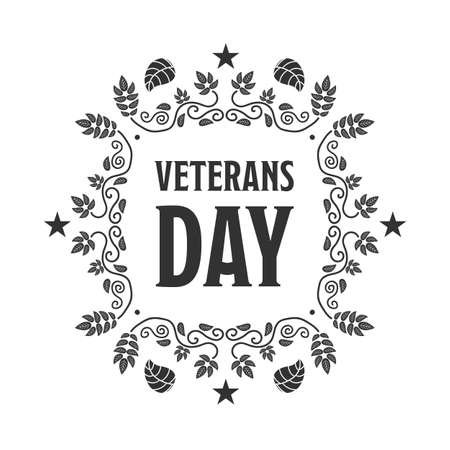 american history: Veteran day black sign with a white background Illustration