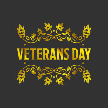 american history: Veteran day golden bagde with a black background Illustration