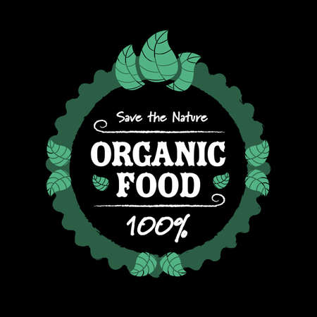 Organic food icon with leafs on black background