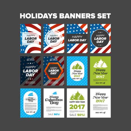 holidays: Holidays banners set