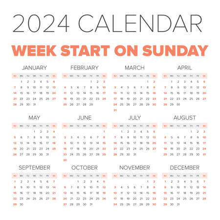 Simple 2024 Year Calendar Stock Photo, Picture And Royalty Free ...