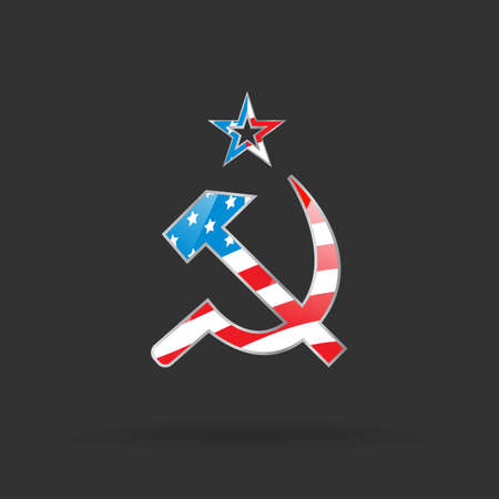 Hammer and sickle with USA flag