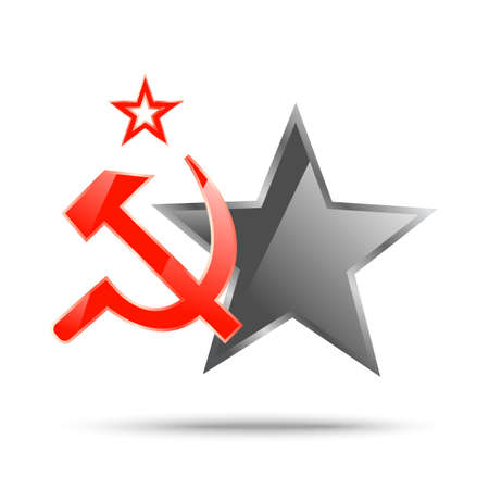 Communism symbolic banner with hammer and sickle