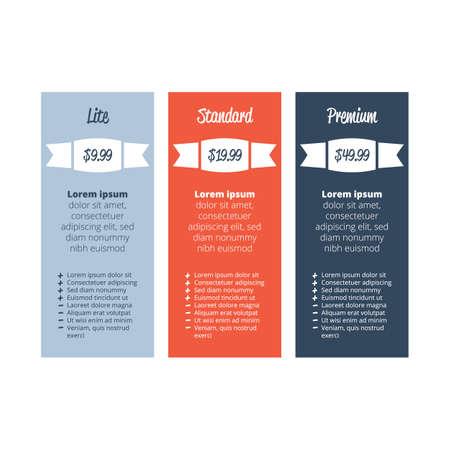 Drei Tarife Planvorlage für Website Vektorgrafik
