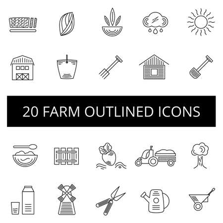 Outlined farm icon set with twenty icons on white background