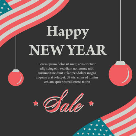 Happy New Year Vintage Banner With USA Flag On Black Vector