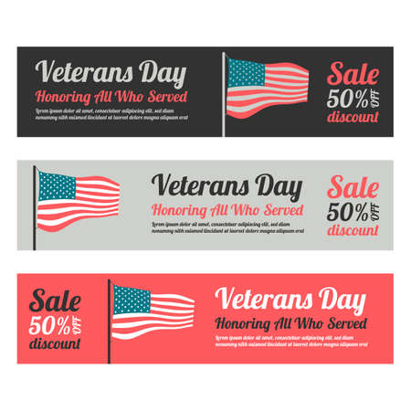 Veterans day web banner set with american flag