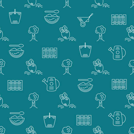 Farm seamless pattern on a green background Ilustração