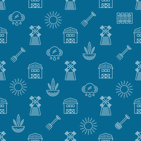 raking: Farm seamless pattern on a blue background Illustration