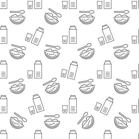 Food seamless pattern on a white background