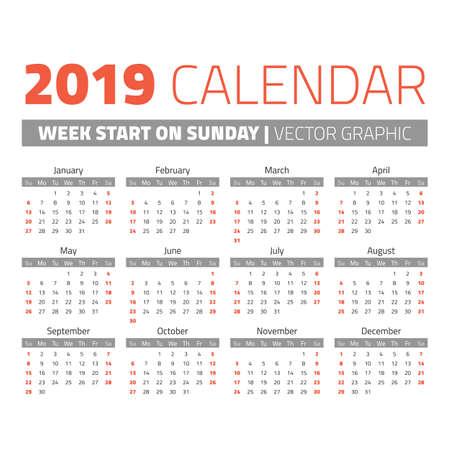 Eenvoudige kalender van 2019 jaar