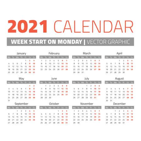 Simple 2021 year calendar, week starts on Monday Ilustração