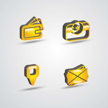 yellow color three dimensional commercial icon set Illustration