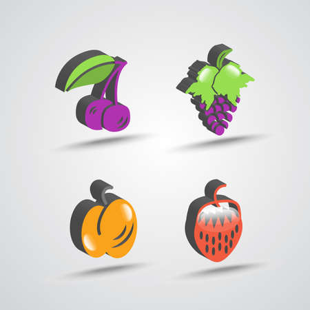 color three dimensional fruit icon set with shadows Illustration