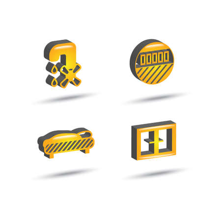 yellow color three dimensional house equipment icon set