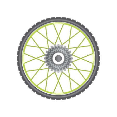 spoke: Black metallic bicycle wheel with green spokes on a white background