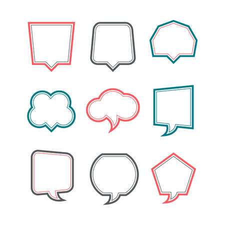 Colored Speech bubbles set on white background
