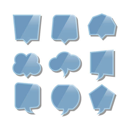 Speech bubbles with reflection set on white background