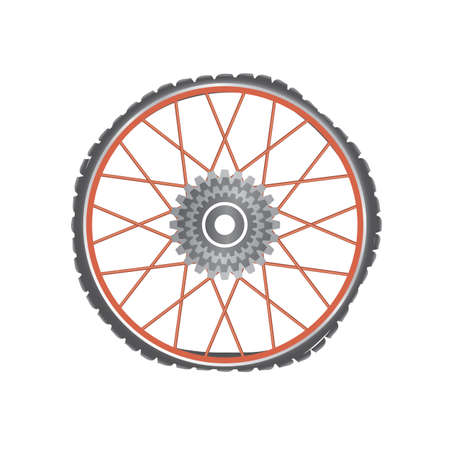 Broken metallic bicycle wheel with red spokes on a white background