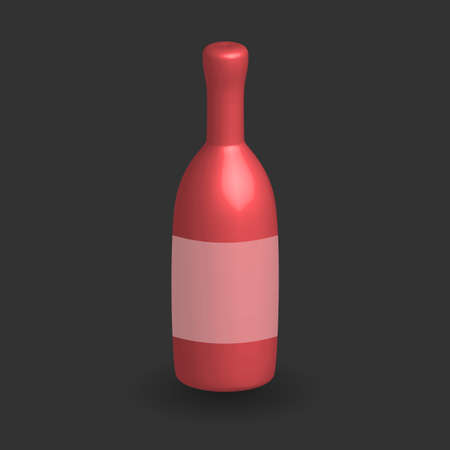 Red three dimensional Wine bottle template on black