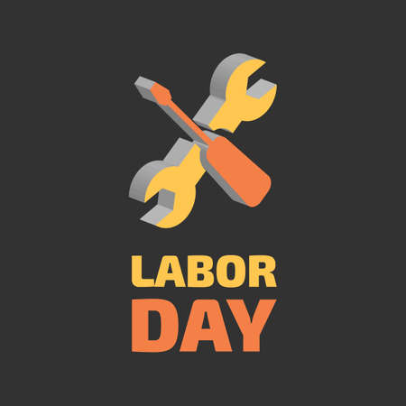 Labor day banner on black background, vector illustration. Çizim